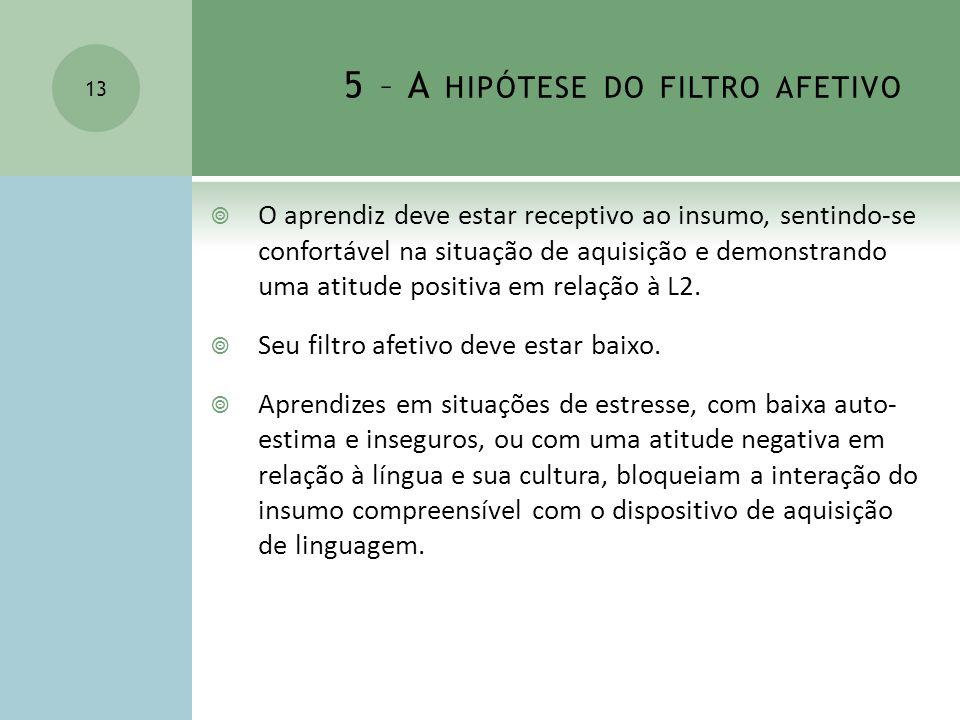 5 – A hipótese do filtro afetivo