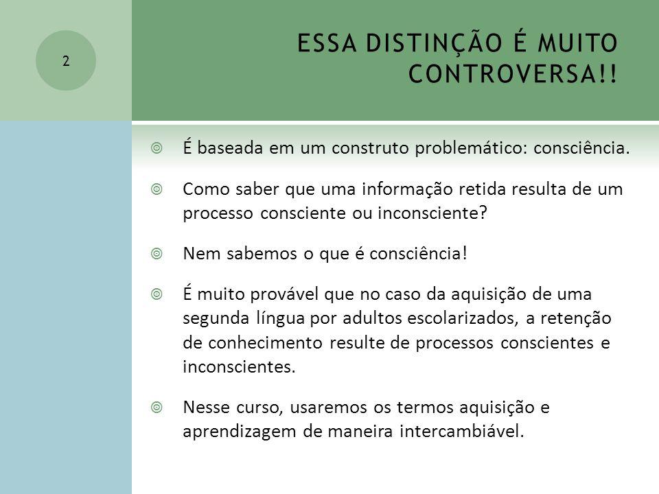 ESSA DISTINÇÃO É MUITO CONTROVERSA!!