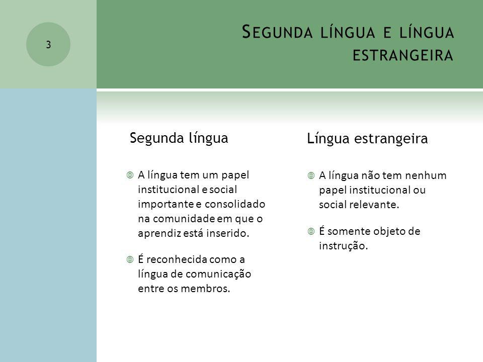Segunda língua e língua estrangeira