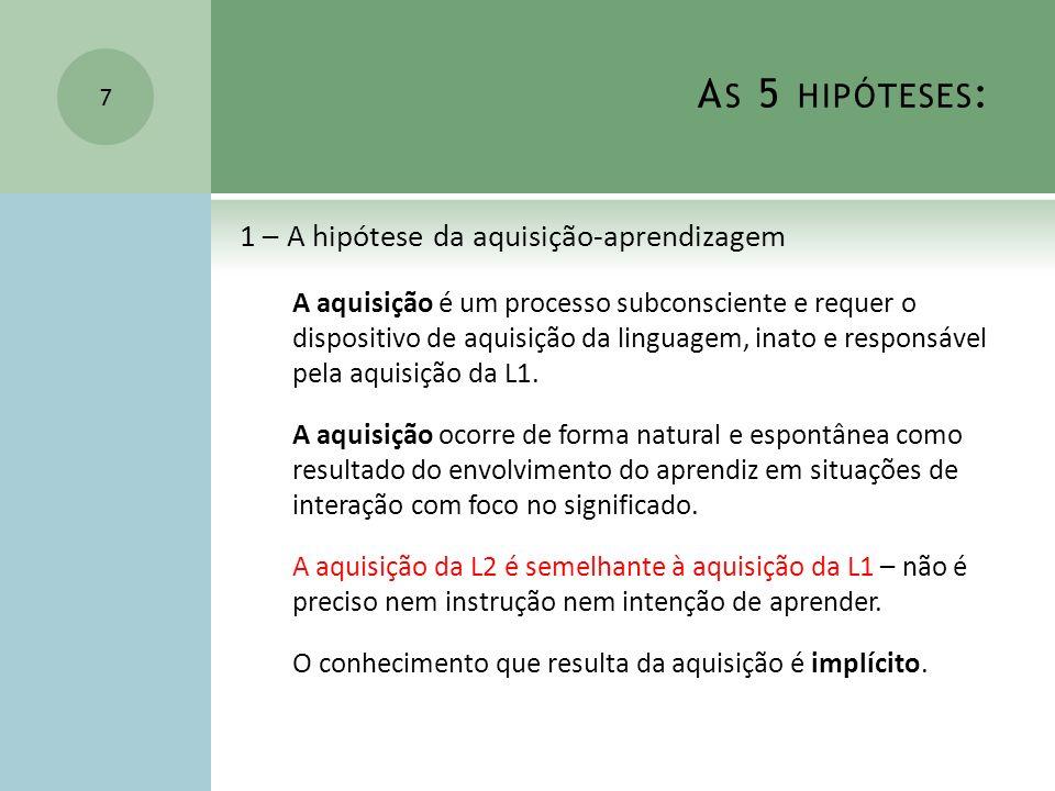 As 5 hipóteses: 1 – A hipótese da aquisição-aprendizagem