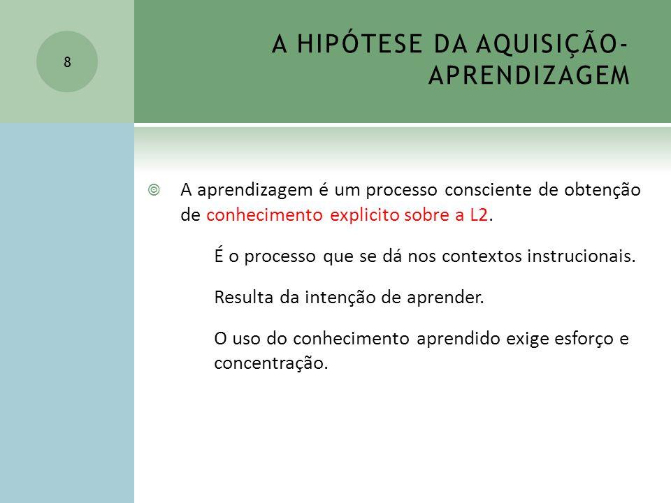 A HIPÓTESE DA AQUISIÇÃO-APRENDIZAGEM