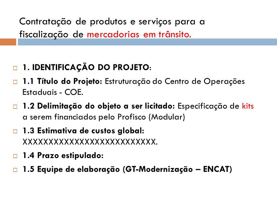 Contratação de produtos e serviços para a fiscalização de mercadorias em trânsito.