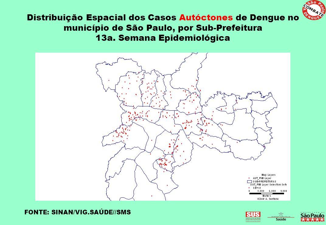 Distribuição Espacial dos Casos Autóctones de Dengue no município de São Paulo, por Sub-Prefeitura 13a. Semana Epidemiológica