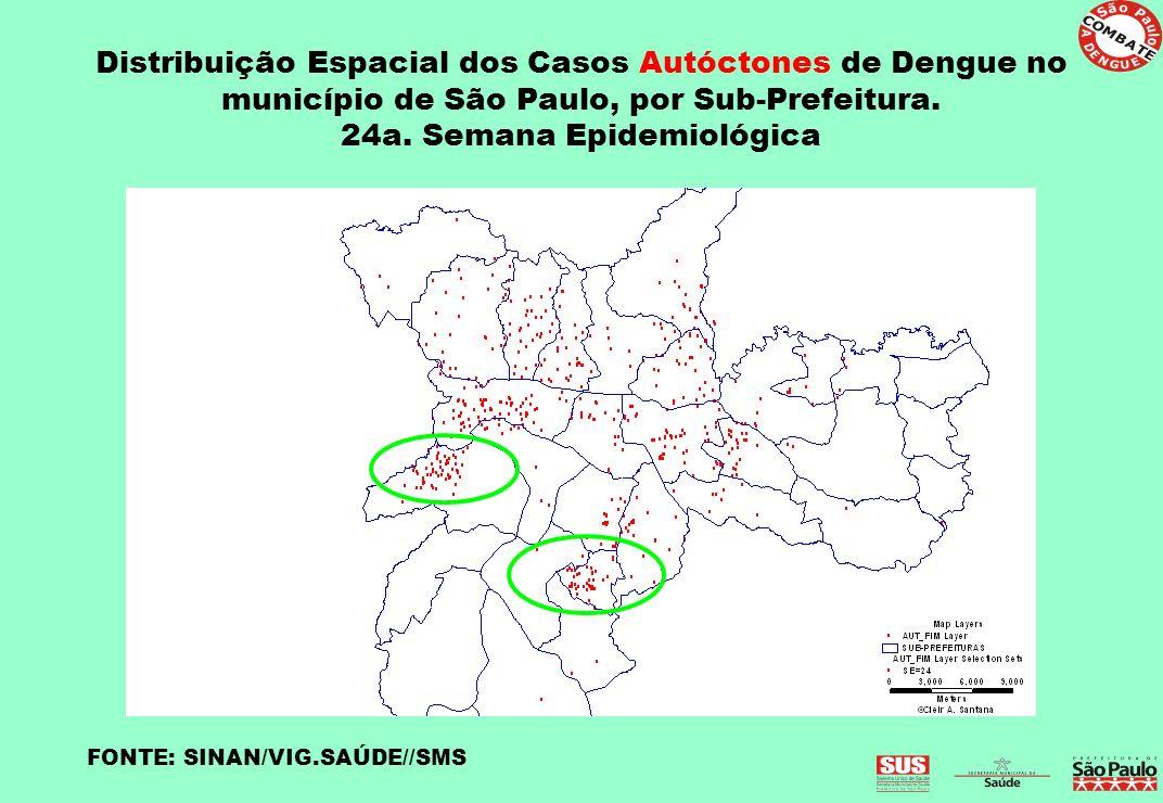 Distribuição Espacial dos Casos Autóctones de Dengue no município de São Paulo, por Sub-Prefeitura. 24a. Semana Epidemiológica