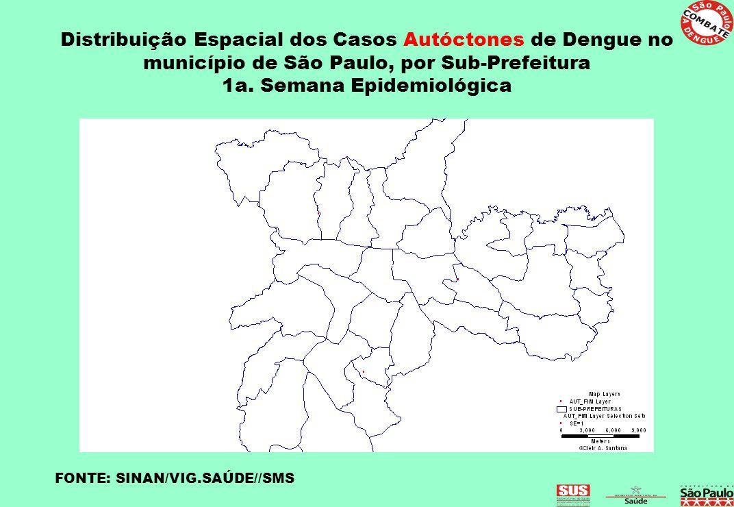 Distribuição Espacial dos Casos Autóctones de Dengue no município de São Paulo, por Sub-Prefeitura 1a. Semana Epidemiológica