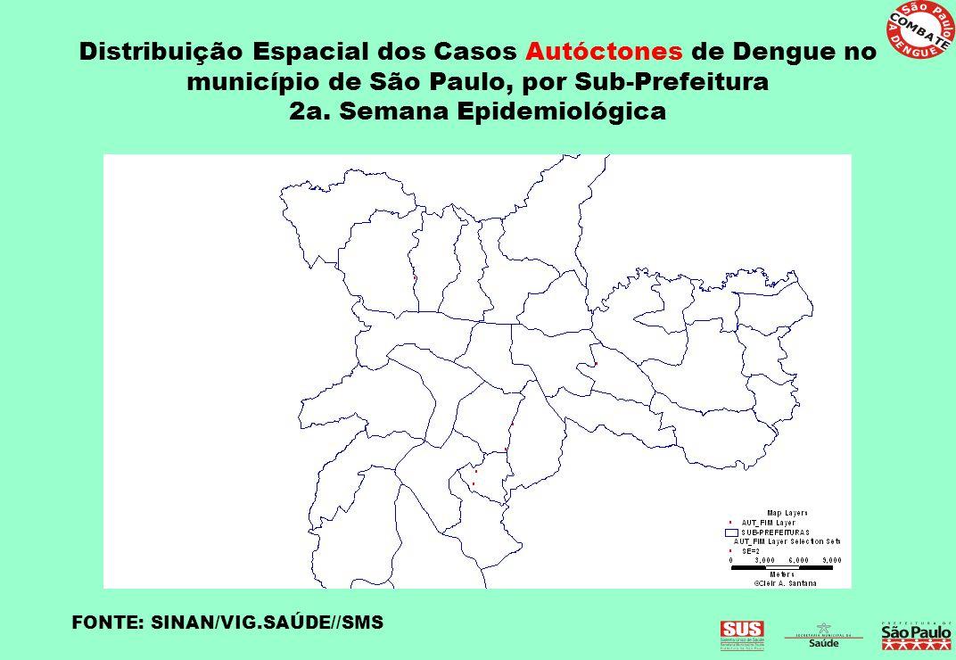 Distribuição Espacial dos Casos Autóctones de Dengue no município de São Paulo, por Sub-Prefeitura 2a. Semana Epidemiológica