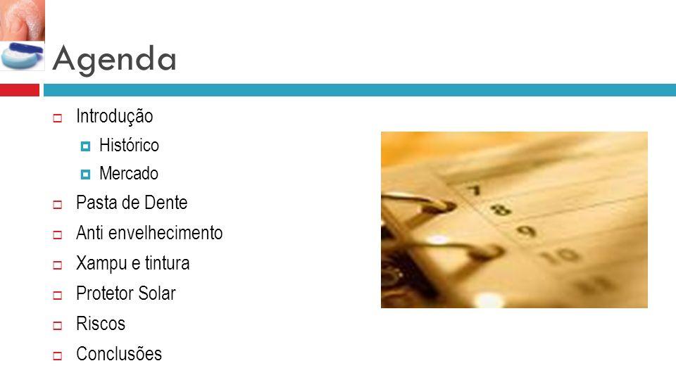 Agenda Introdução Pasta de Dente Anti envelhecimento Xampu e tintura