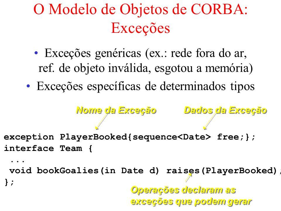 O Modelo de Objetos de CORBA: Exceções