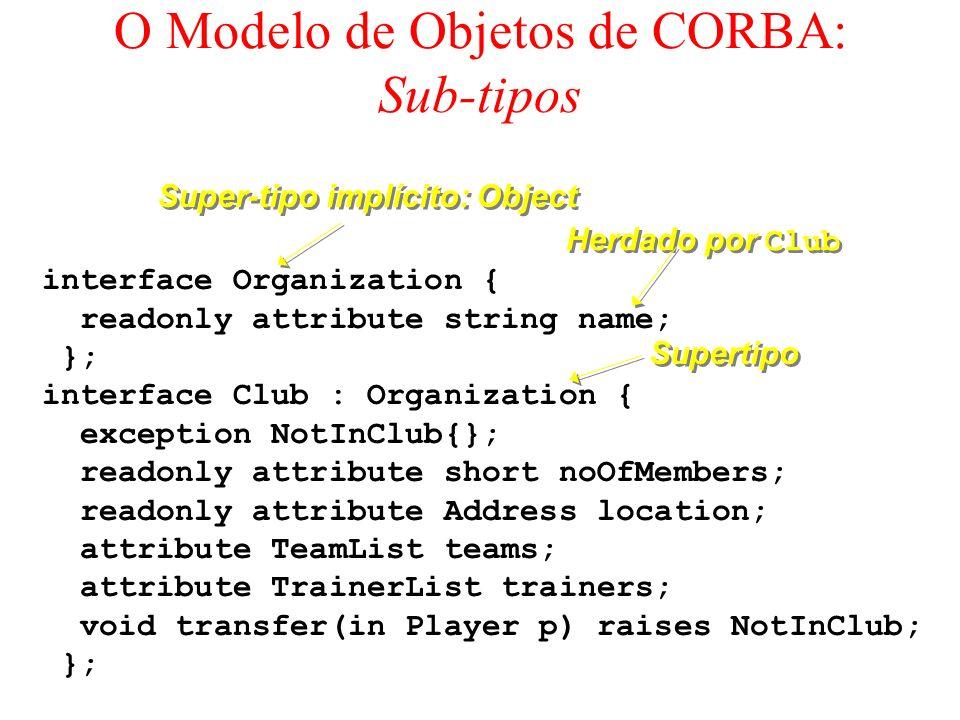 O Modelo de Objetos de CORBA: Sub-tipos