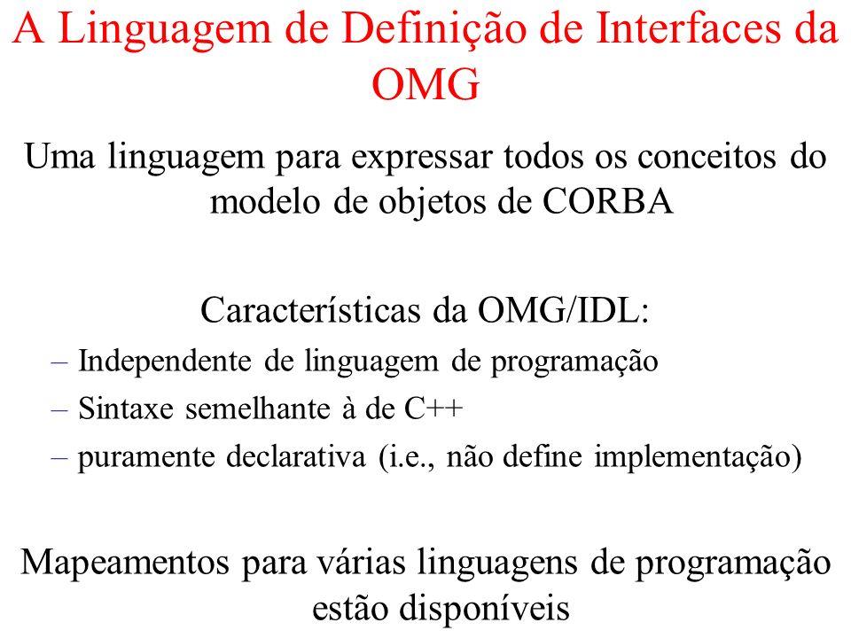 A Linguagem de Definição de Interfaces da OMG