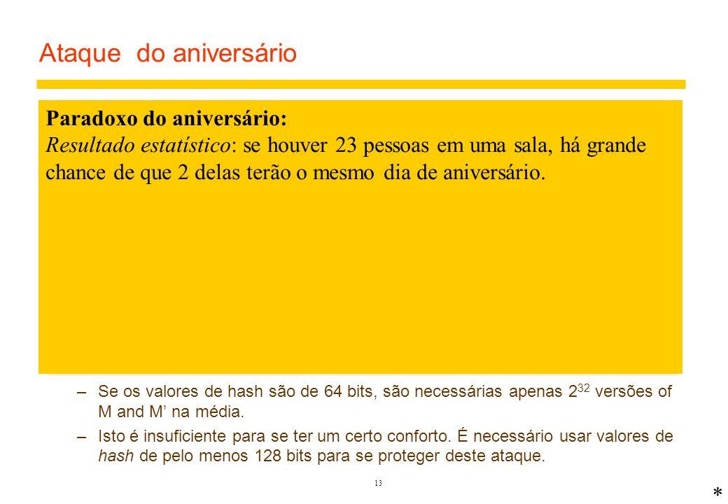 Ataque do aniversário Paradoxo do aniversário: