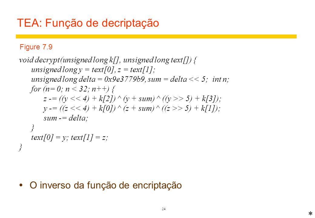 TEA: Função de decriptação