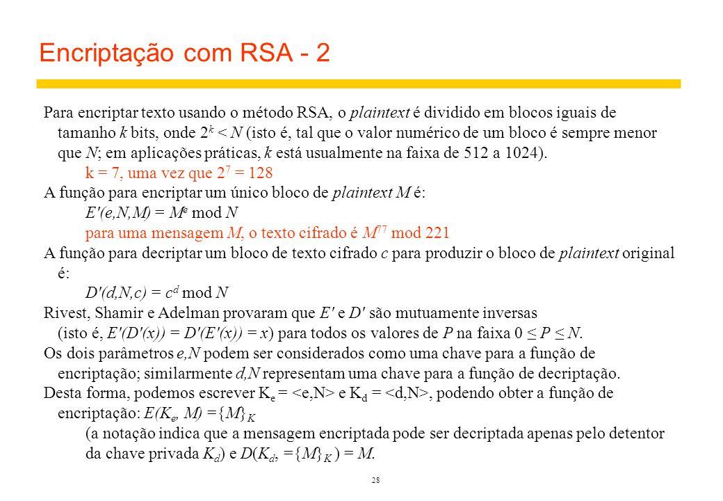 Encriptação com RSA - 2