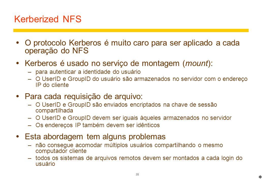 Kerberized NFS O protocolo Kerberos é muito caro para ser aplicado a cada operação do NFS. Kerberos é usado no serviço de montagem (mount):