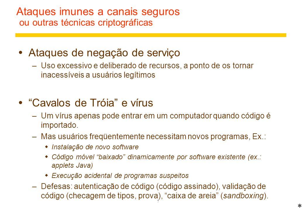Ataques imunes a canais seguros ou outras técnicas criptográficas
