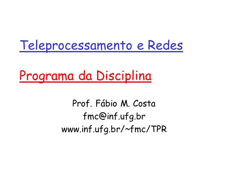 Teleprocessamento e Redes Programa da Disciplina