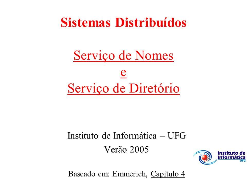 Sistemas Distribuídos Serviço de Nomes e Serviço de Diretório