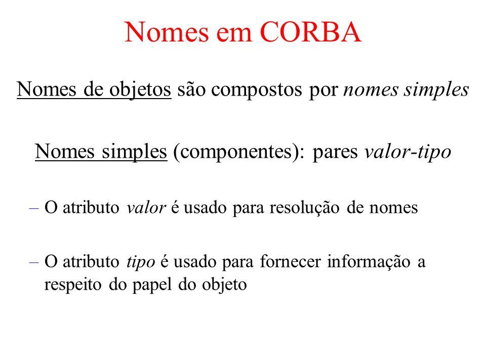 Nomes em CORBA Nomes de objetos são compostos por nomes simples