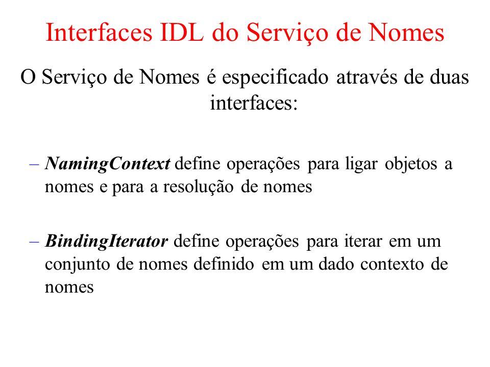 Interfaces IDL do Serviço de Nomes