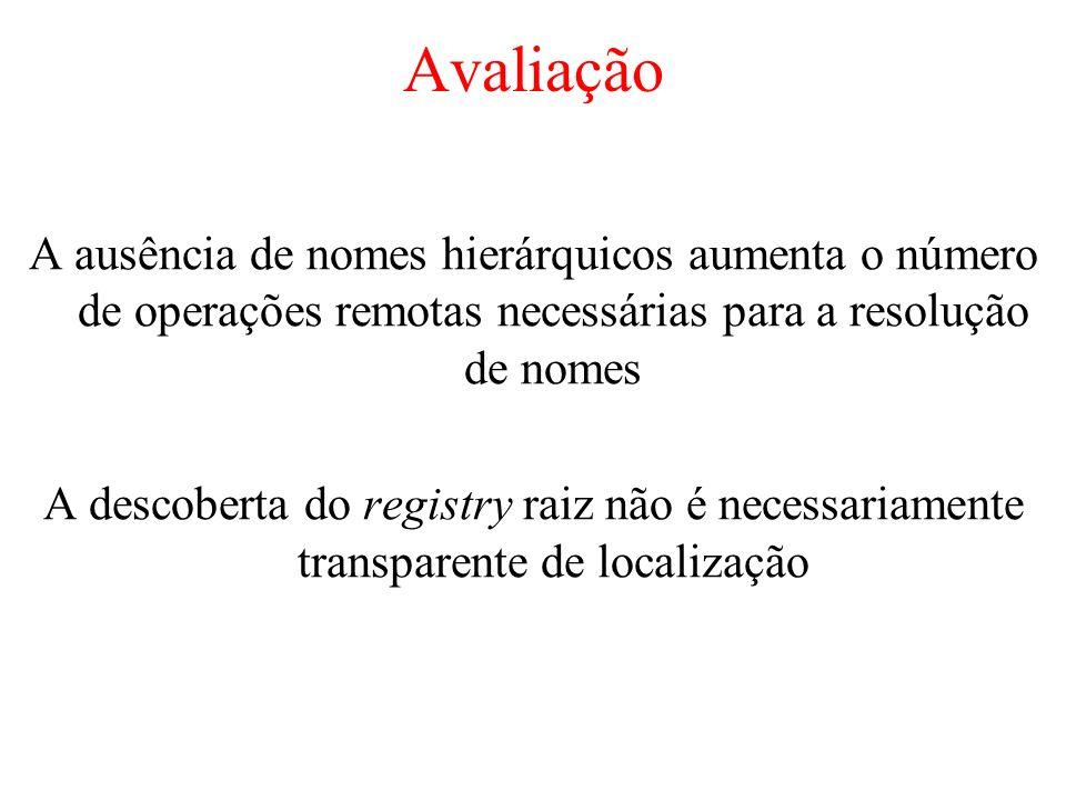 Avaliação A ausência de nomes hierárquicos aumenta o número de operações remotas necessárias para a resolução de nomes.