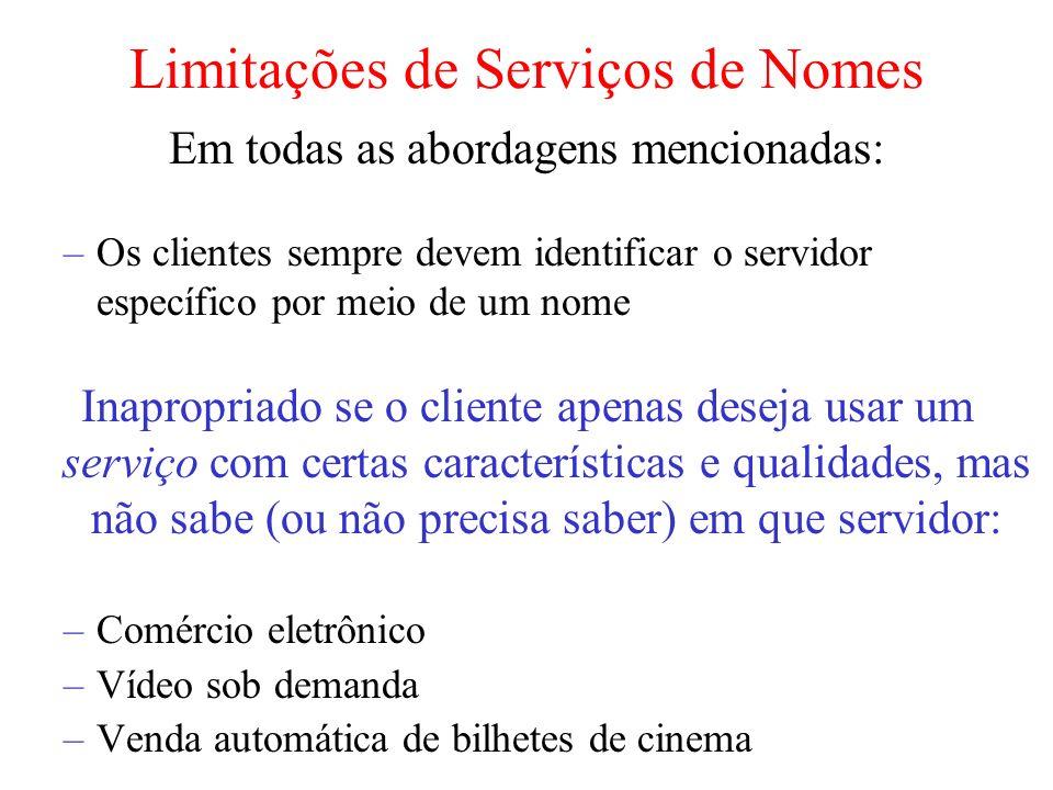 Limitações de Serviços de Nomes
