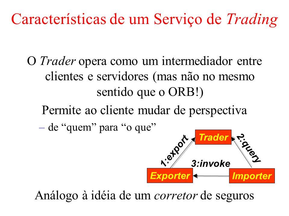 Características de um Serviço de Trading