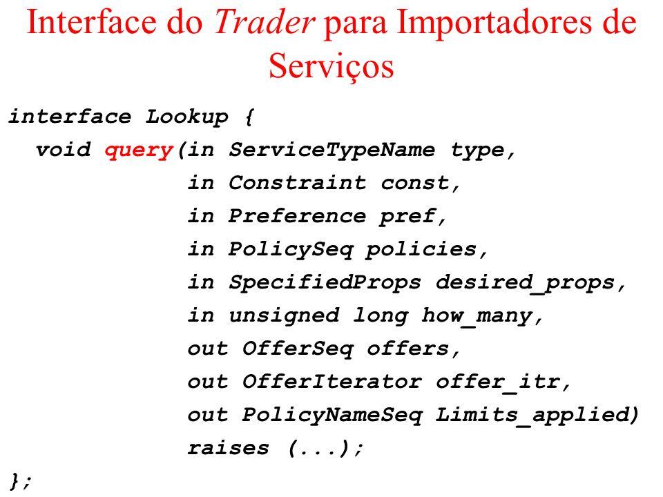 Interface do Trader para Importadores de Serviços