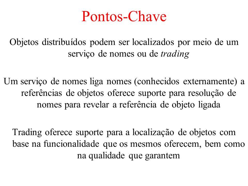 Pontos-Chave Objetos distribuídos podem ser localizados por meio de um serviço de nomes ou de trading.
