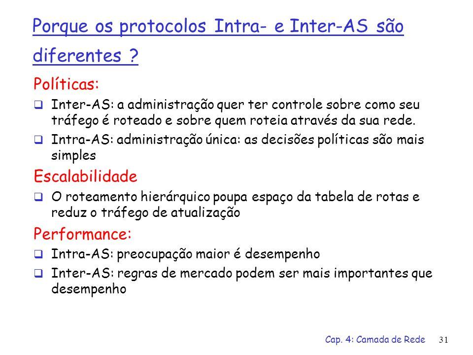 Porque os protocolos Intra- e Inter-AS são diferentes