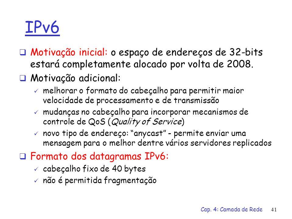 IPv6 Motivação inicial: o espaço de endereços de 32-bits estará completamente alocado por volta de 2008.
