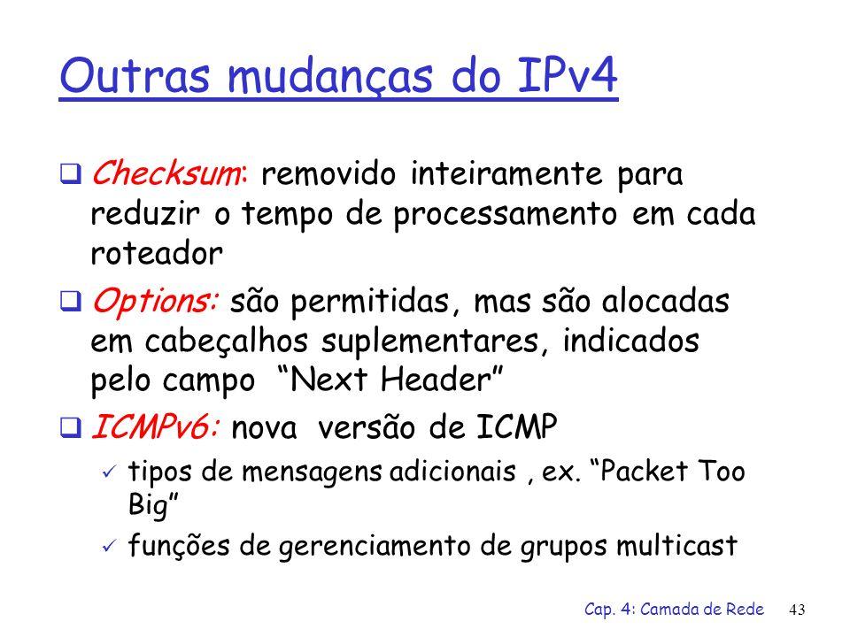 Outras mudanças do IPv4 Checksum: removido inteiramente para reduzir o tempo de processamento em cada roteador.