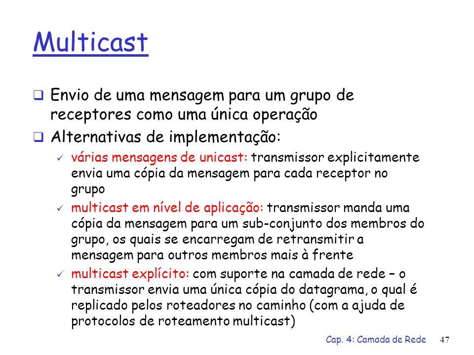 Multicast Envio de uma mensagem para um grupo de receptores como uma única operação. Alternativas de implementação: