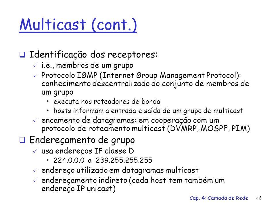 Multicast (cont.) Identificação dos receptores: Endereçamento de grupo