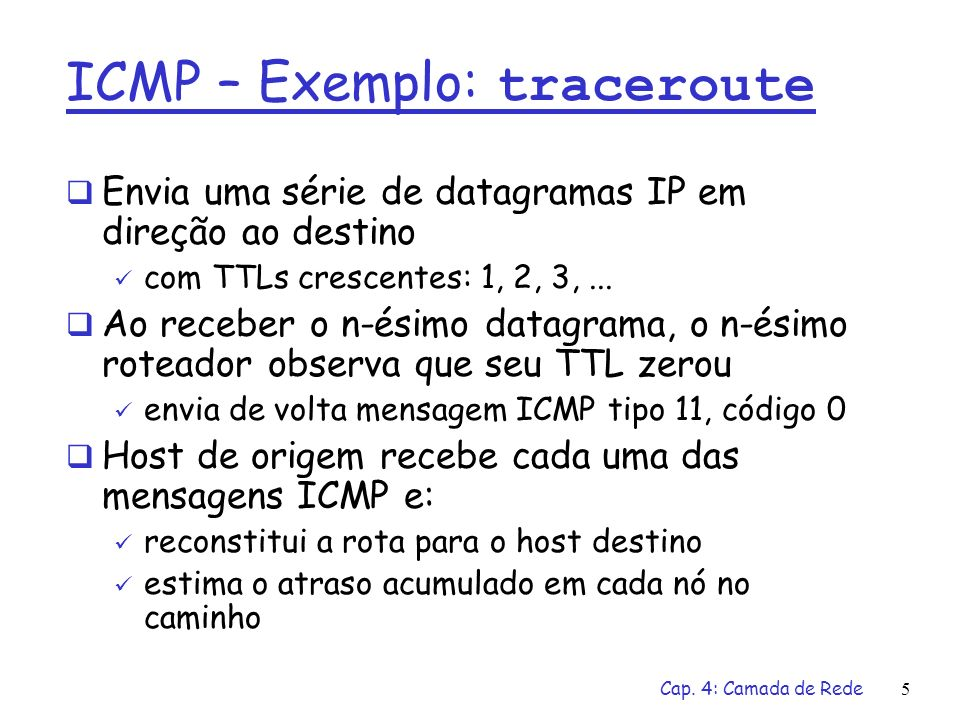 ICMP – Exemplo: traceroute