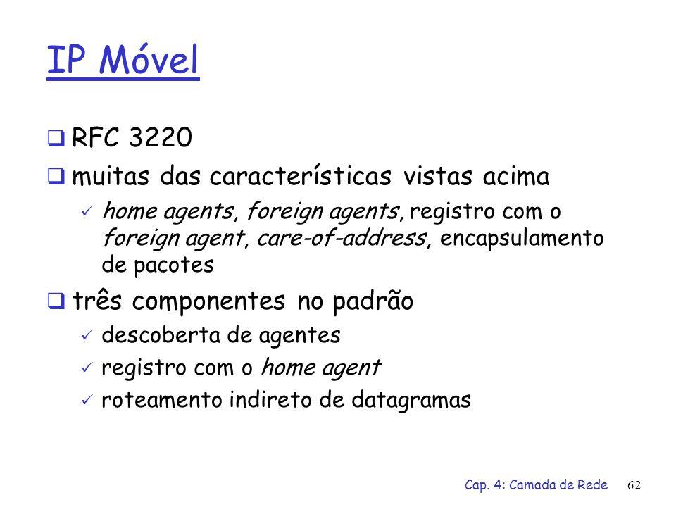 IP Móvel RFC 3220 muitas das características vistas acima