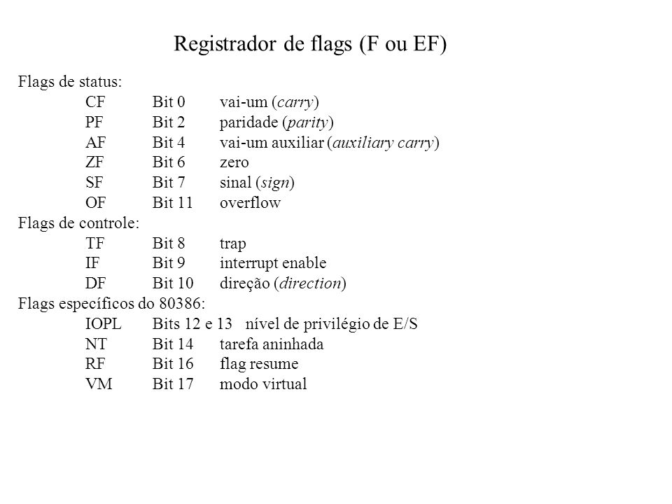 Registrador de flags (F ou EF)