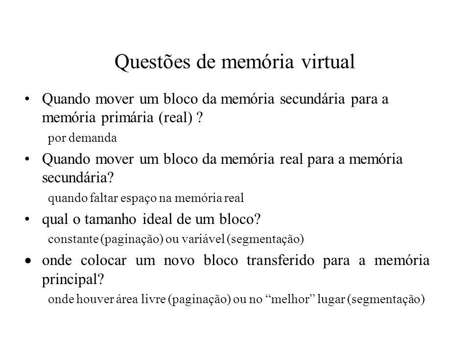 Questões de memória virtual
