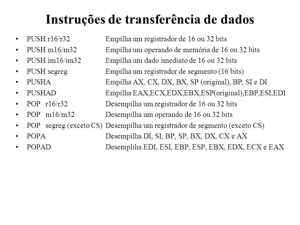 Instruções de transferência de dados