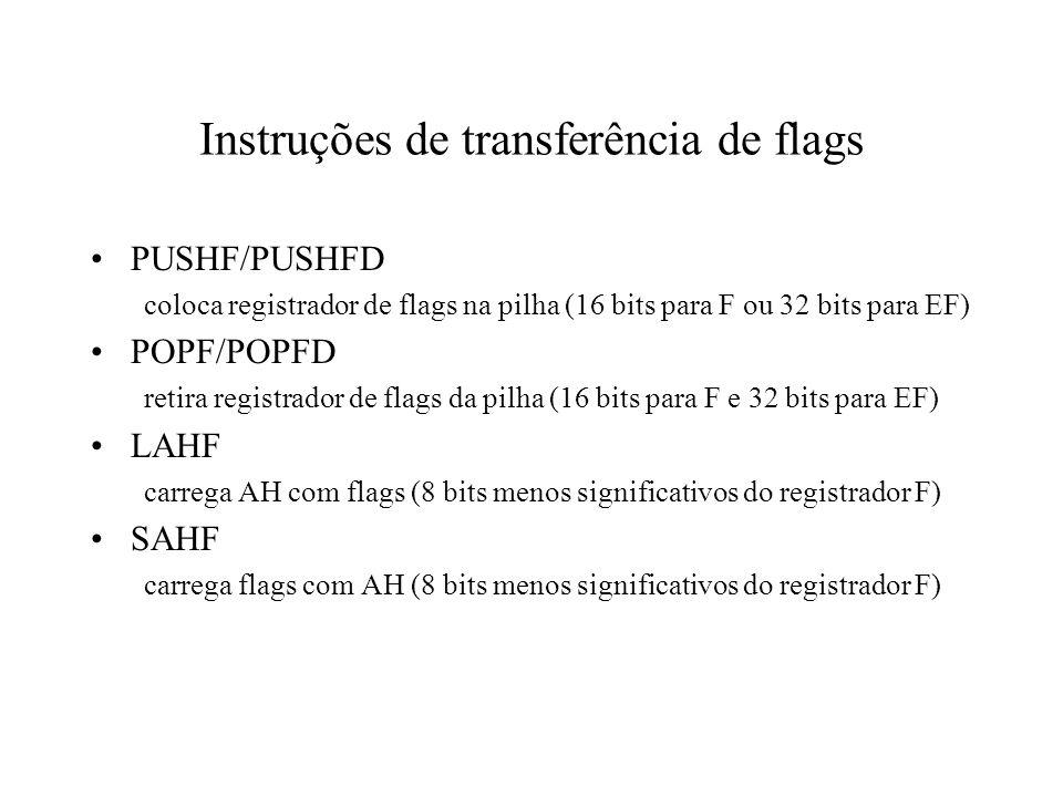 Instruções de transferência de flags