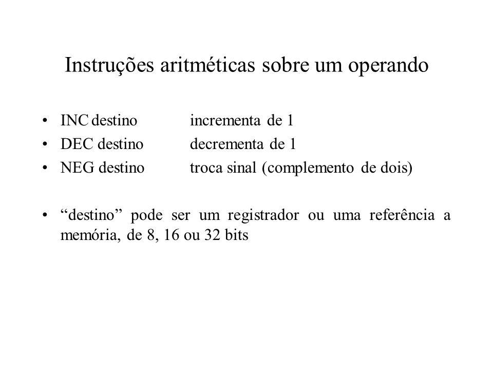 Instruções aritméticas sobre um operando