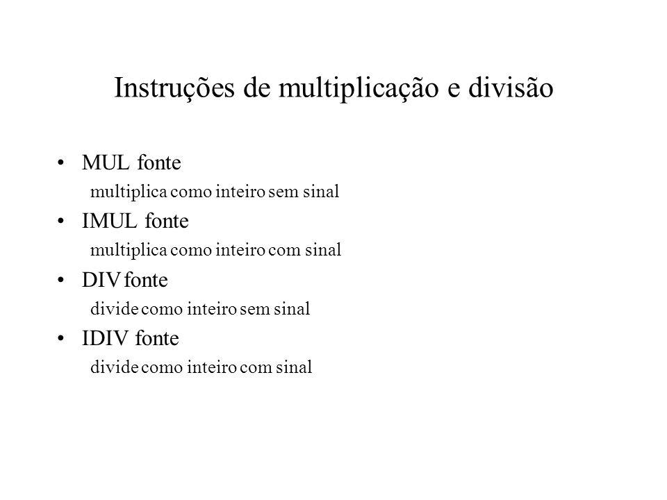 Instruções de multiplicação e divisão