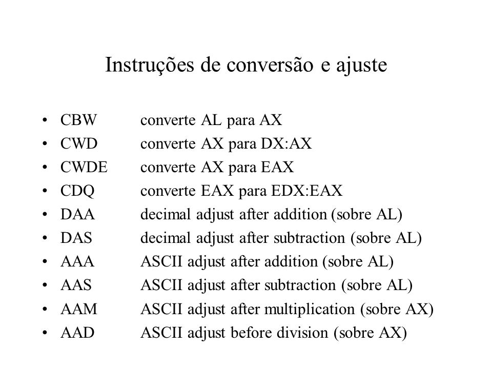 Instruções de conversão e ajuste
