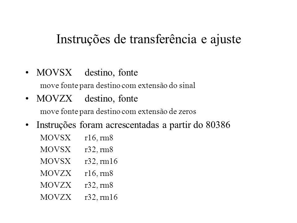 Instruções de transferência e ajuste