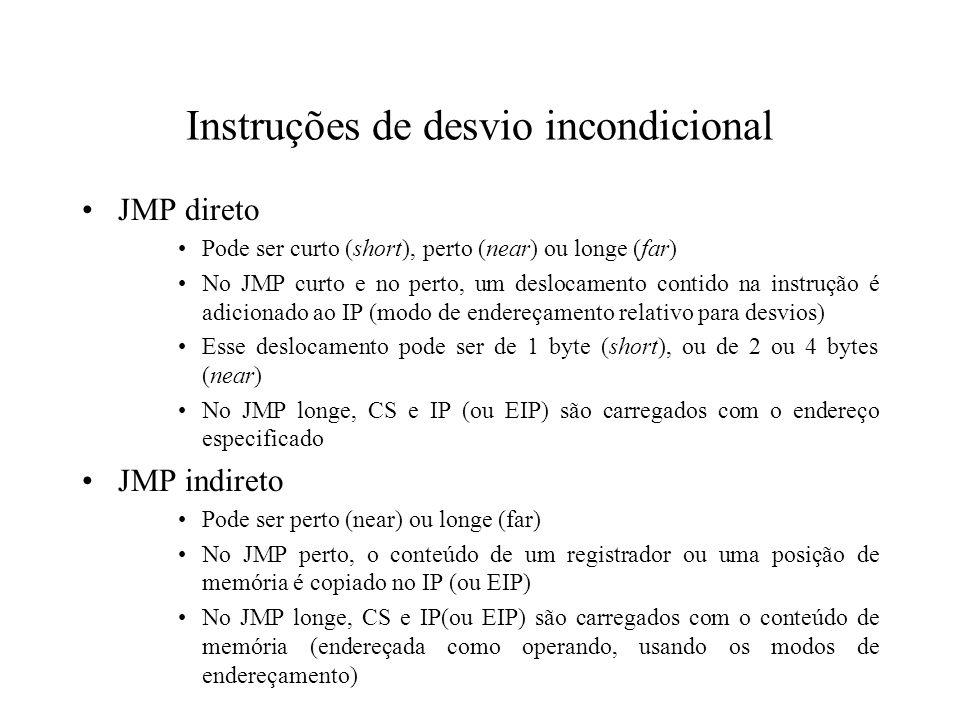 Instruções de desvio incondicional
