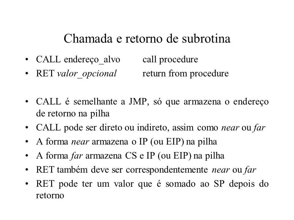 Chamada e retorno de subrotina