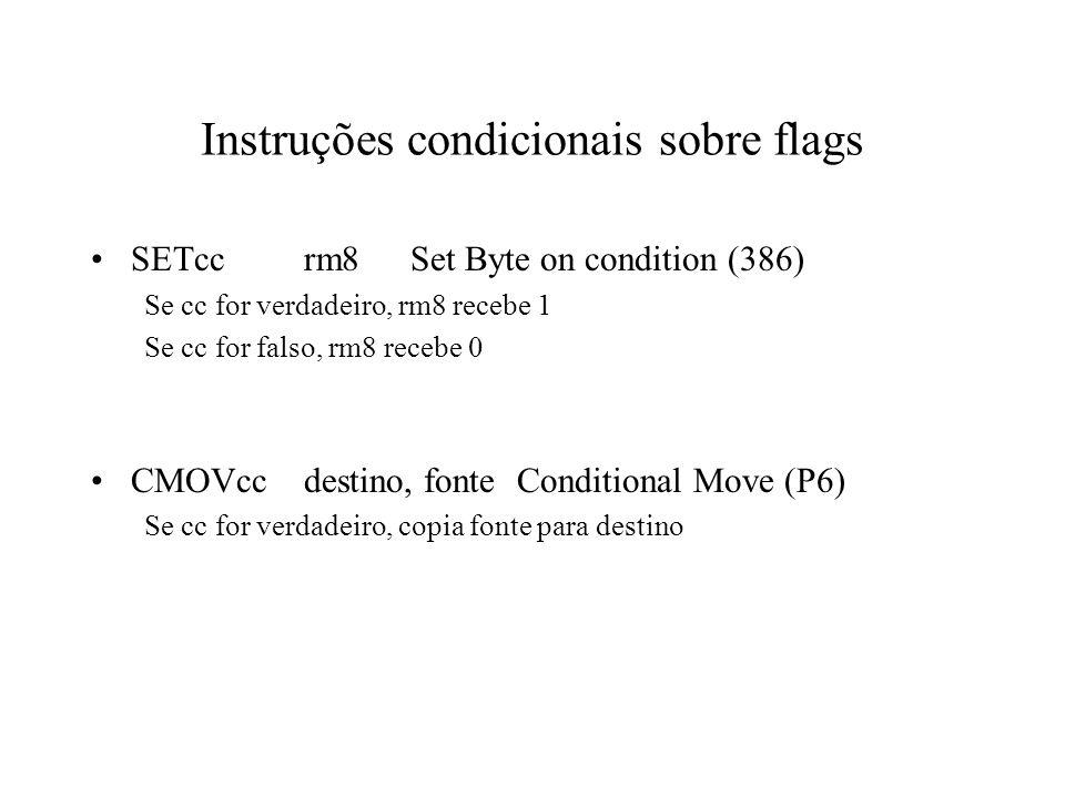 Instruções condicionais sobre flags