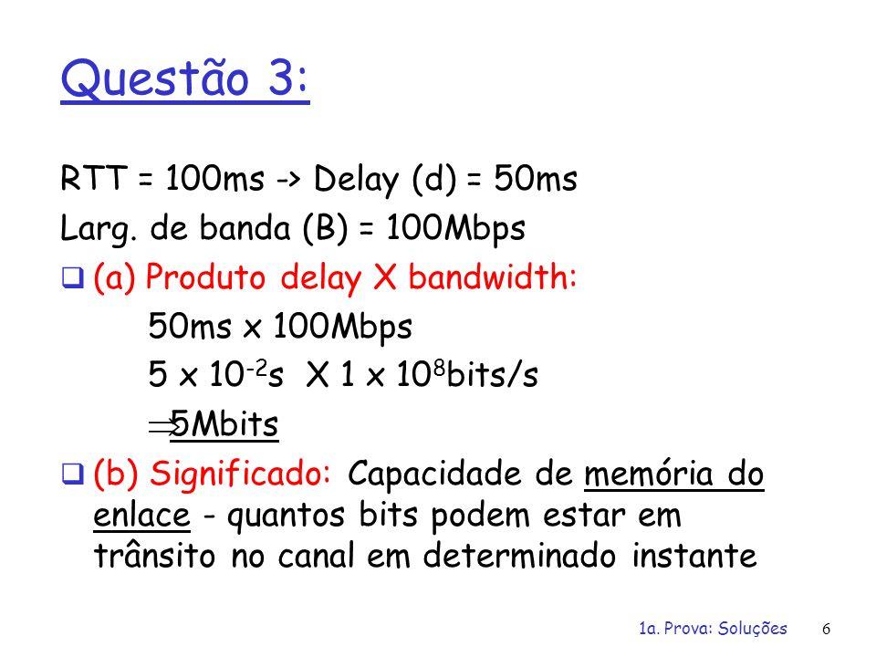 Questão 3: RTT = 100ms -> Delay (d) = 50ms