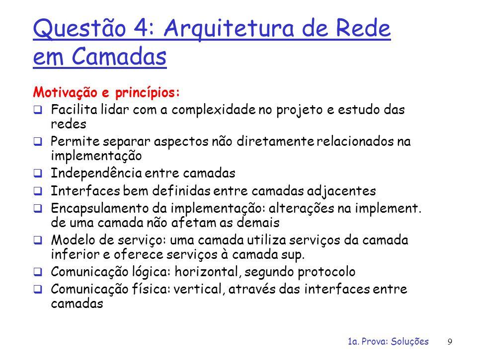 Questão 4: Arquitetura de Rede em Camadas