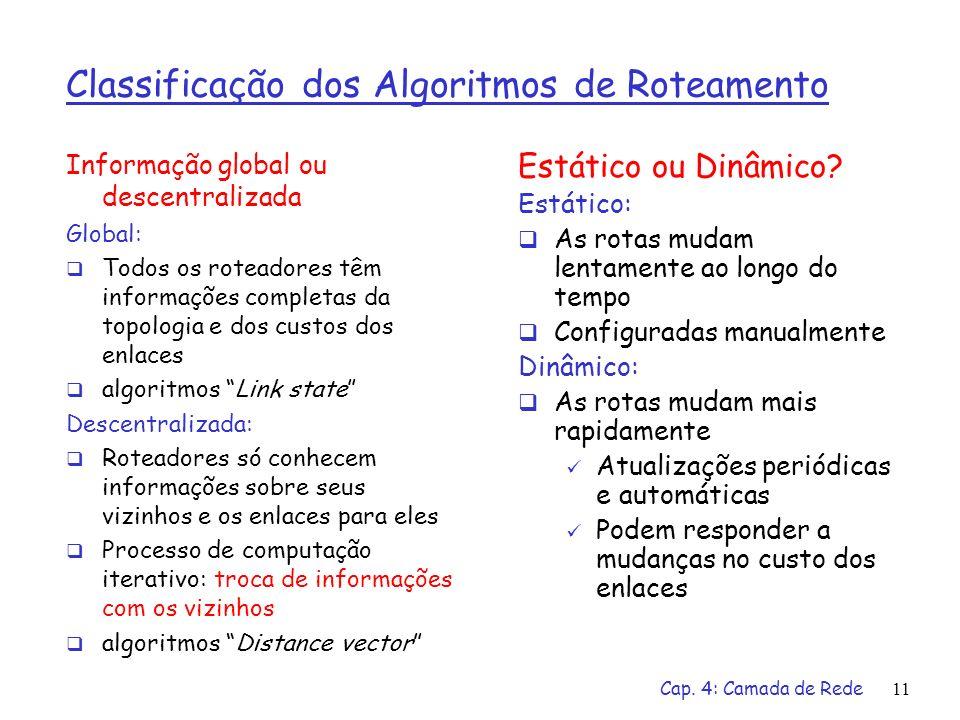 Classificação dos Algoritmos de Roteamento