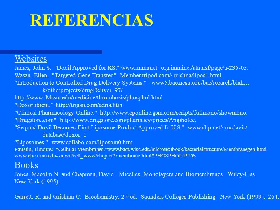 REFERENCIAS Websites Books